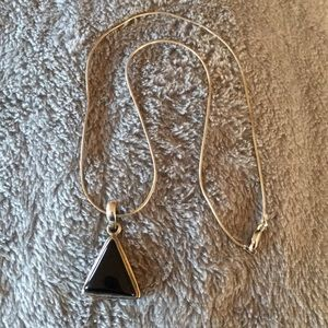 Jewelry - Silver and Onyx Pendant Necklace